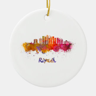 Riyadh V2 skyline in watercolor Ceramic Ornament