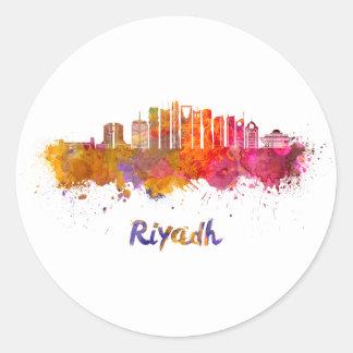 Riyadh V2 skyline in watercolor Classic Round Sticker