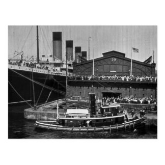 RMS Olympic at Pier 59 Vintage Glass Slide 1911 Postcard