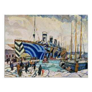 "RMS Olympic in Dazzle Camouflage 11x14"" poster"