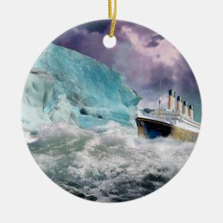 RMS Titanic and Iceberg Painting Ceramic Ornament