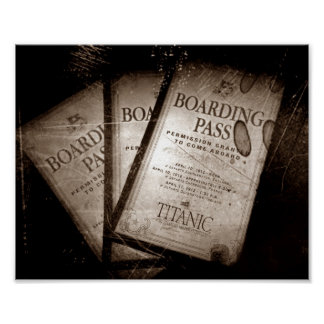RMS Titanic Boarding Passes Poster