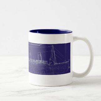 RMS Titanic Original Blueprint, Enhanced for Color Coffee Mugs