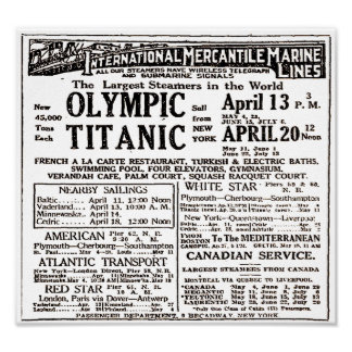 RMS Titanic Passenger Liner Newspaper Ad Poster