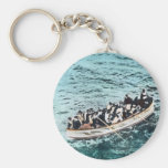 RMS Titanic Survivors in Lifeboats Vintage Basic Round Button Key Ring