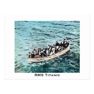 RMS Titanic Survivors in Lifeboats Vintage Postcard