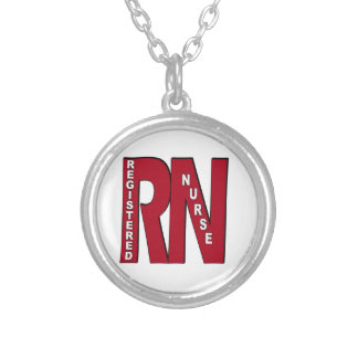 RN BIG RED REGISTERED NURSE SILVER PLATED NECKLACE