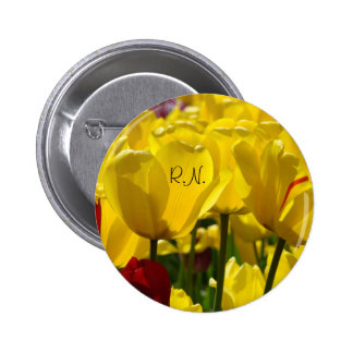 RN buttons Yellow Tulip Flowers Nursing Floral