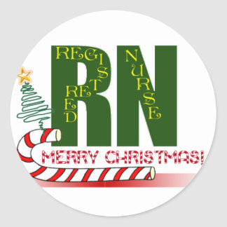 RN MERRY CHRISTMAS REGISTERED NURSE CLASSIC ROUND STICKER