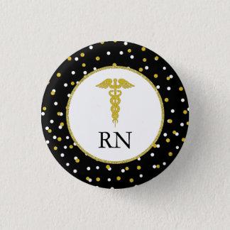RN nurse graduation party favor, gold confetti 3 Cm Round Badge