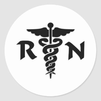 RN Nurses Medical Symbol Round Sticker