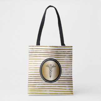 RN Nursing Gold Caduceus Symbol for Nurse Tote Bag