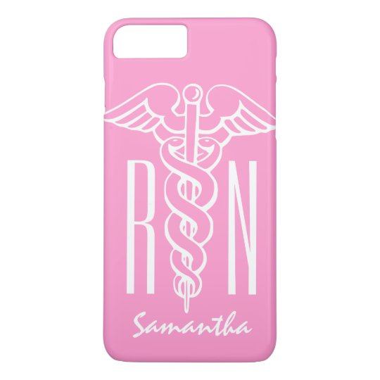 RN Registered Nurse Custom pink caduceus iPhone 7 Plus Case