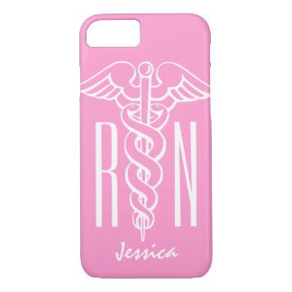 RN Registered Nurse iPhone 7 case | Pink caduceus