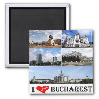 RO - Romania - Bucharest - I Love - Collage Mosaic Square Magnet