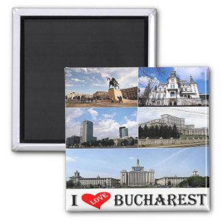 RO - Romania - Bucharest - I Love - Collage Mosaic Square Magnet