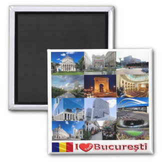 RO - Romania - Bucharest I Love Mosaic Collage Square Magnet