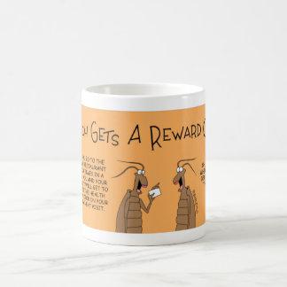 Roach gets a frequent shopper card coffee mug