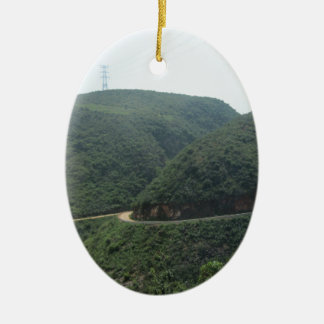 road and scenery ceramic oval decoration