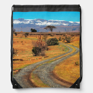 Road And Snow-Capped Cathedral Range, Champagne Drawstring Bag