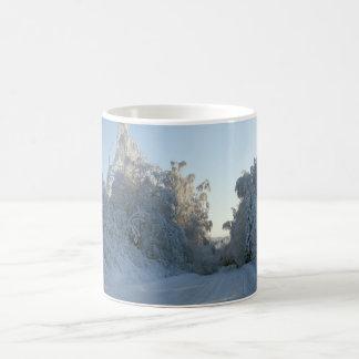 Road and Snow covered trees Coffee Mug
