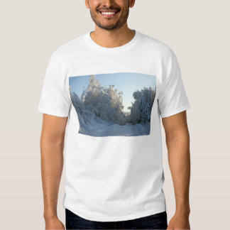 Road and Snow covered trees Tees