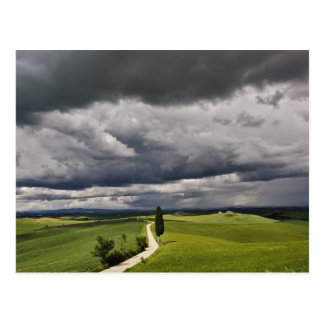 Road and storm clouds, rural Tuscany region, Postcard