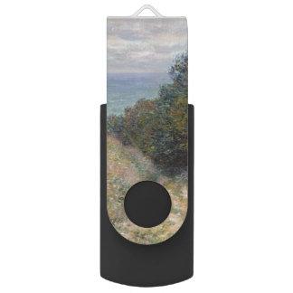 Road at La Cavee Pourville by Claude Monet Swivel USB 2.0 Flash Drive