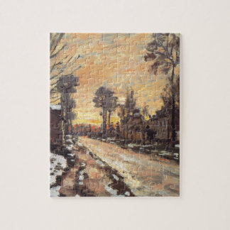 Road at Louveciennes, Melting Snow, Sunset Jigsaw Puzzle