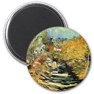 Road at Saint-Remy Female Figure, Vincent van Gogh 6 Cm Round Magnet