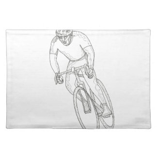 Road Bicycle Racing Doodle Placemat