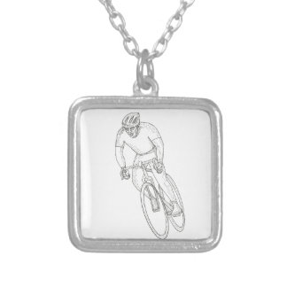 Road Bicycle Racing Doodle Silver Plated Necklace