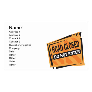 Road Closed Business Card Template