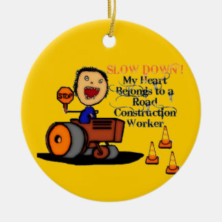 Road Construction Worker Love Round Ceramic Decoration