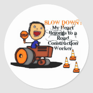 Road Construction Worker Love Round Sticker