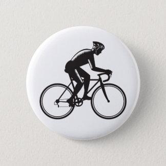 Road Cyclist Racing Woodcut 6 Cm Round Badge