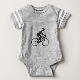 Road Cyclist Racing Woodcut Baby Bodysuit