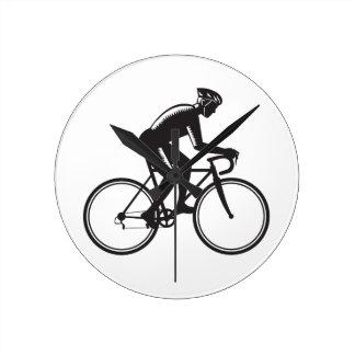 Road Cyclist Racing Woodcut Clock