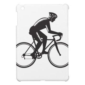 Road Cyclist Racing Woodcut iPad Mini Cover