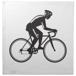 Road Cyclist Racing Woodcut Napkin
