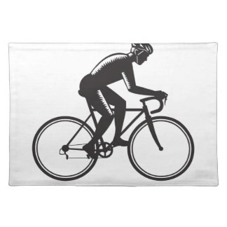 Road Cyclist Racing Woodcut Placemat