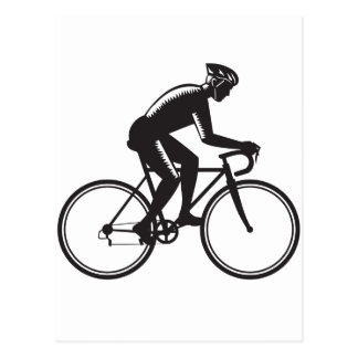 Road Cyclist Racing Woodcut Postcard