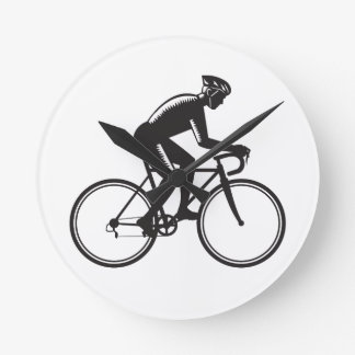 Road Cyclist Racing Woodcut Round Clock