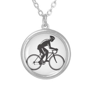 Road Cyclist Racing Woodcut Silver Plated Necklace