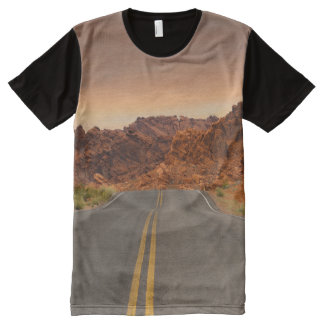 Road / Highway - Sunset - Valley of Fire All-Over Print T-Shirt
