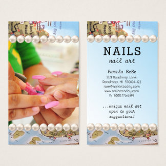 Road MAP Nail Salon Nail Art Blue Water Business Card