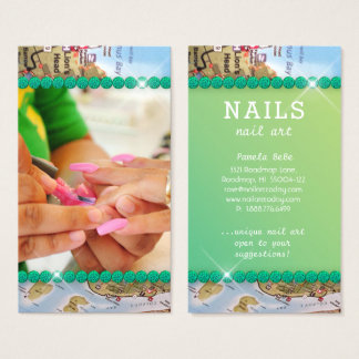 Road MAP Nail Salon Nail Art Green Gem Business Card