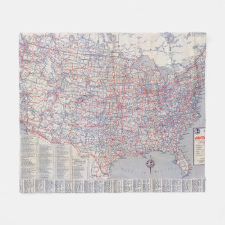 Road map United States Fleece Blanket