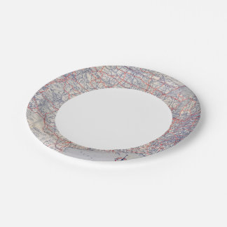 Road map United States 7 Inch Paper Plate