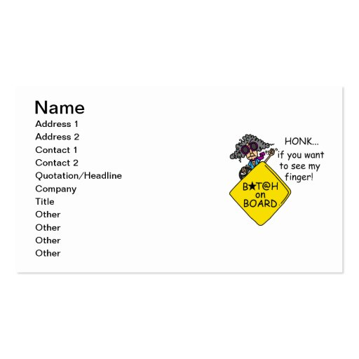Road Rage Humor Business Card Template